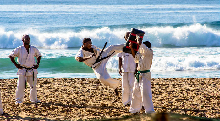 Karate training at the beach